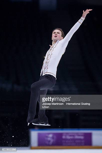 Misha Ge of Uzbekistan competes during Men's Free Skating on day two of the Trophee de France ISU Grand Prix of Figure Skating at Accorhotels Arena...