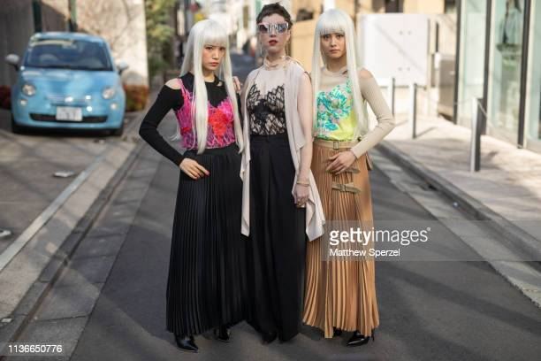 Misha Janette and Femm are seen during the Amazon Fashion Week TOKYO 2019 A/W on March 18, 2019 in Tokyo, Japan.