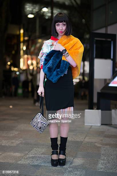 Misha Janette attends the Writtenafterwards show during Tokyo Fashion Week wearing a Gisela Febrino top United Nude watch Chloe ring Toga skirt and...