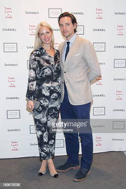 Misha Nonoo and Alexander Gilkes attend the 2013 'Take Home A Nude' Benefit Art Auction And Party at Sotheby's on October 8 2013 in New York City