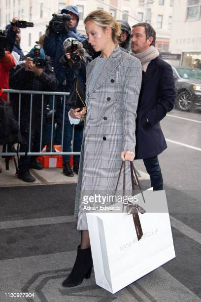 Misha Nonoo arrive at Meghan Markle's baby shower on February 20 2019 in New York City