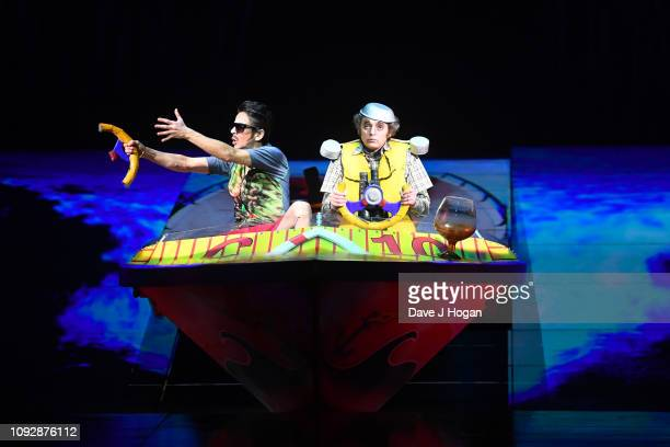 Misha Usov perfoming as the Clown Fisherman from Cirque Du Soleil 'TOTEM' during a full dress rehearsal at Royal Albert Hall on January 11 2019 in...
