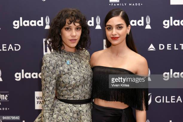 Mishel Prada and Melissa Barrera attend the Hyundai AfterParty at the 29th Annual GLAAD Media Awards Los Angeles at The Beverly Hilton Hotel on April...