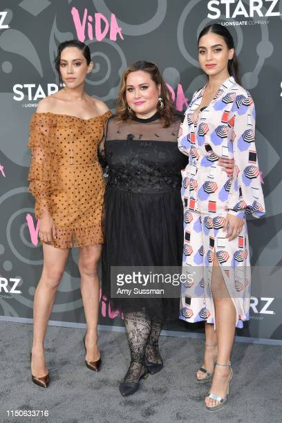 Mishel Prada creator Tanya Saracho and Melissa Barrera attend LA Premiere Of Starz' VIDA at Regal Downtown Theater on May 20 2019 in Los Angeles...