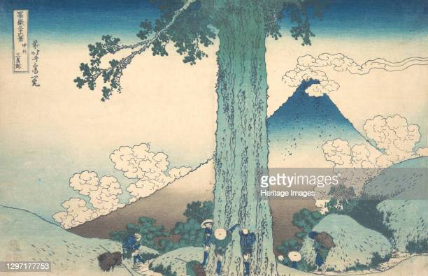 Mishima Pass in Kai Province , from the series Thirty-six Views of Mount Fuji , circa 1830-32. Artist Hokusai.