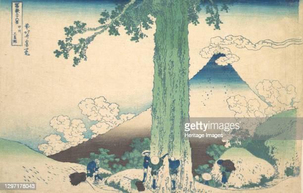 Mishima Pass in Kai Province , from the series Thirty-six Views of Mount Fuji (Fugaku sanjurokkei, circa 1830-32. Artist Hokusai.