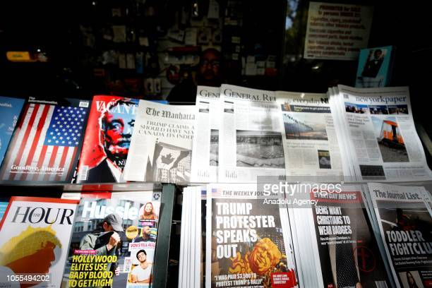 Misinformation news stand is seen in Manhattan, New York, United States on October 30, 2018. The Columbia Journalism Review is aiming to educate news...