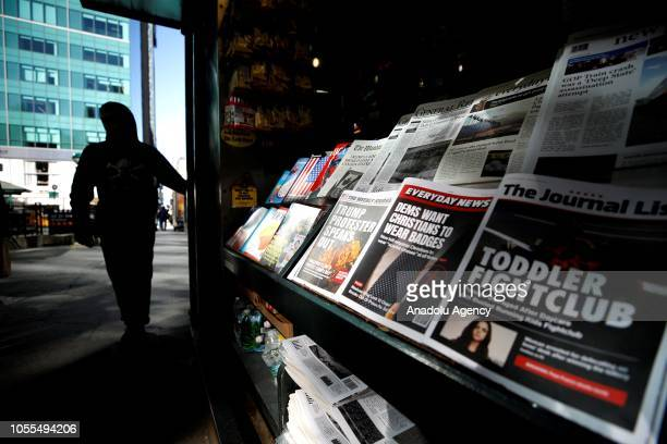 A misinformation news stand is seen in Manhattan New York United States on October 30 2018 The Columbia Journalism Review is aiming to educate news...