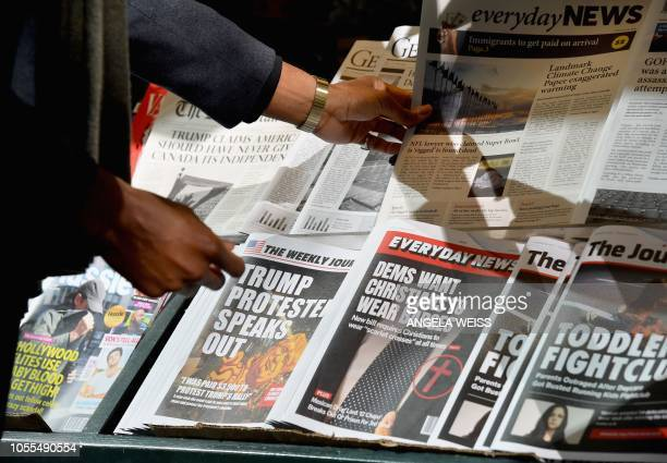 Misinformation newsstand is seen in midtown Manhattan on October 30 aiming to educate news consumers about the dangers of disinformation, or fake...