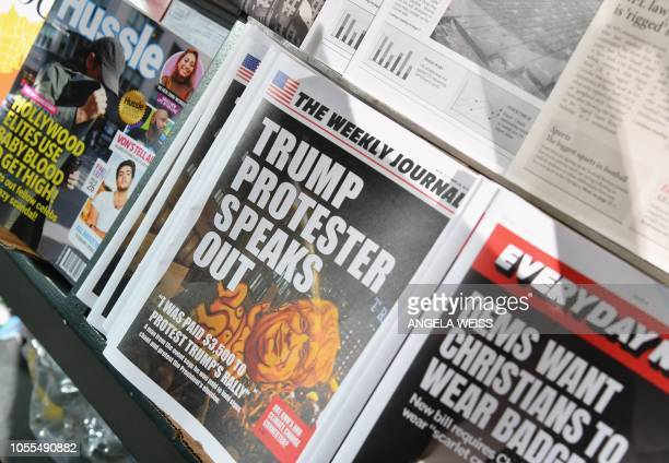 A misinformation newsstand is seen in midtown Manhattan on October 30 aiming to educate news consumers about the dangers of disinformation or fake...