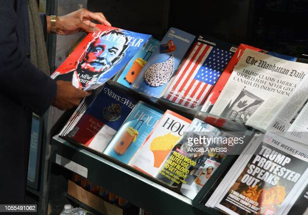 TOPSHOT A misinformation newsstand is seen in midtown Manhattan on October 30 aiming to educate news consumers about the dangers of disinformation or...