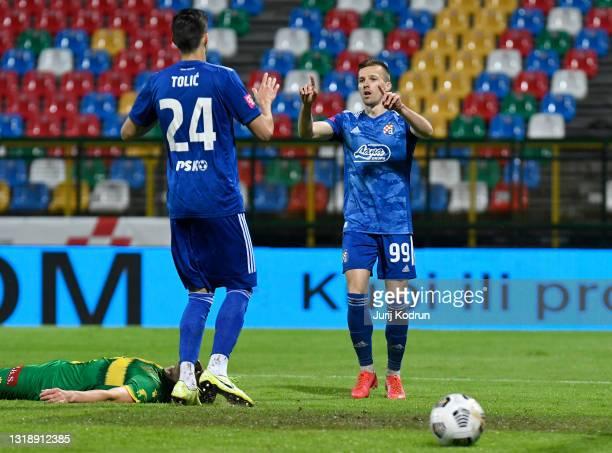 Mislav Orsic of Dinamo Zagreb celebrates with team mate Marko Tolic after scoring their side's fifth goal during the Hrvatski Nogometni Kup 2021...