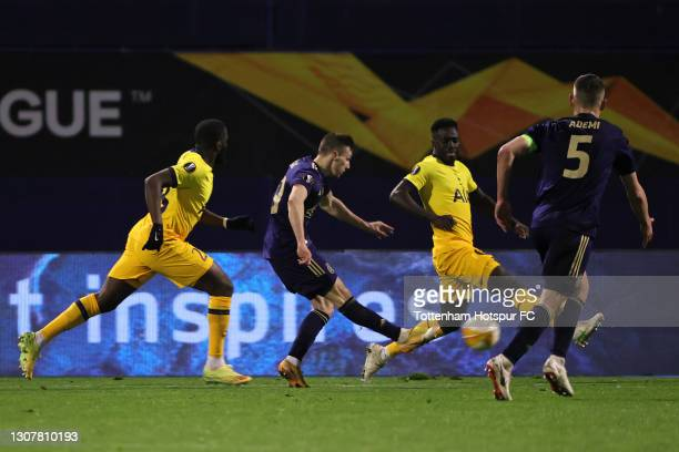 Mislav Orsic of GNK Dinamo Zagreb scores their side's third goal and his hat-trick during the UEFA Europa League Round of 16 Second Leg match between...