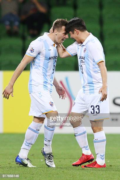 Mislav Orsic of Ulsan Hyundai celebrates a goal with Park Joo Ho during the AFC Asian Champions League match between the Melbourne Victory and Ulsan...