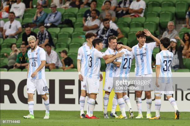 Mislav Orsic of Ulsan Hyundai celebrates with teammates after scoring a goal against Melbourne Victory during their AFC Champions League Group F...