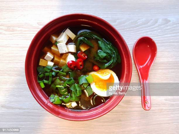 Miso and soba noodle soup with tofu, bok choy, egg, green onion and chili