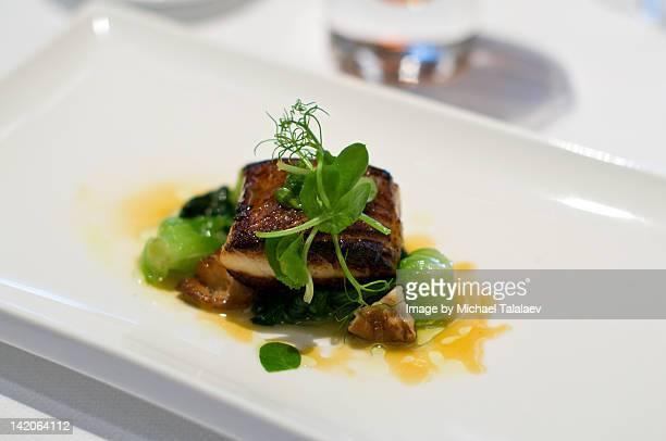 Miso black cod in white rectangular plate