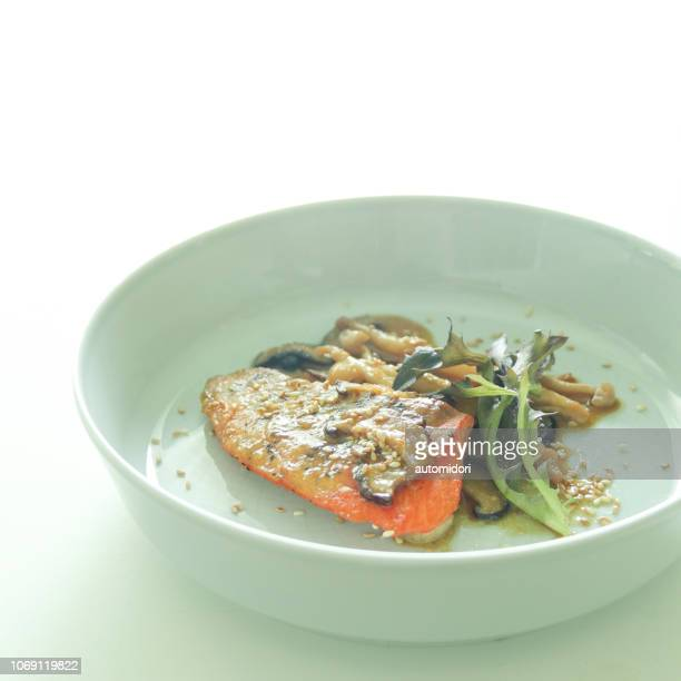 Miso Butter Salmon and Sauteed Mushrooms