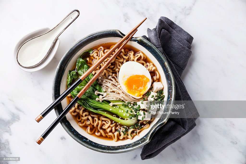 Miso Ramen Asian noodles with egg, enoki and pak choi cabbage in : Stock Photo