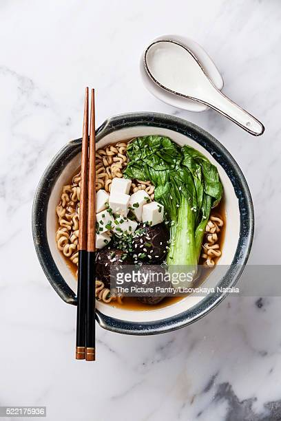 Miso Ramen Asian noodles with shiitake, tofu and pak choi cabbag
