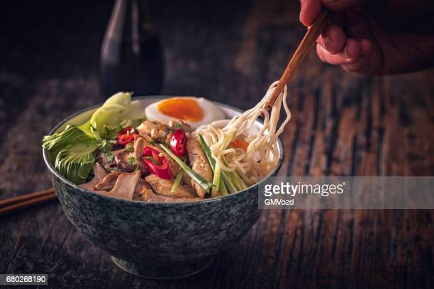 miso ramen noodle soup - sapporo stock pictures, royalty-free photos & images