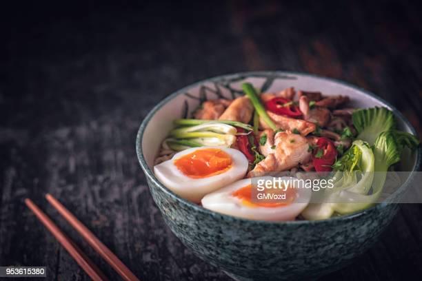 miso ramen noodle soup - ramen noodles stock pictures, royalty-free photos & images