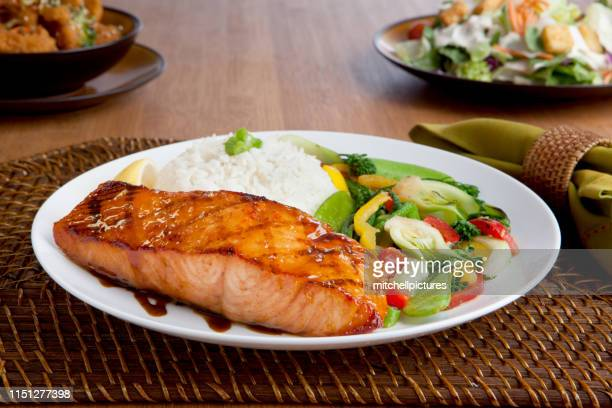 miso salmon dinner - miso sauce stock pictures, royalty-free photos & images