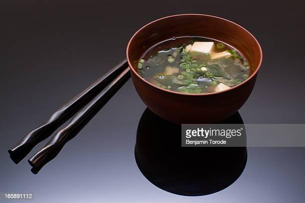 Miso soup and chopsticks