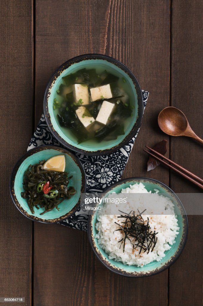 Miso Soup and Rice : Stock Photo
