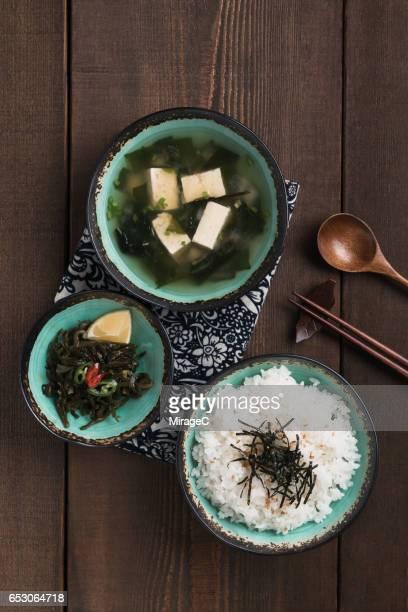 miso soup and rice - washoku fotografías e imágenes de stock