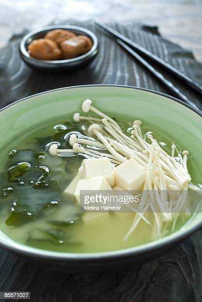 miso soup - enoki mushroom stock pictures, royalty-free photos & images