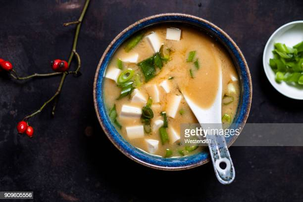 miso soup, silken tofu, wakame seaweed, spring onion - miso sauce stock pictures, royalty-free photos & images