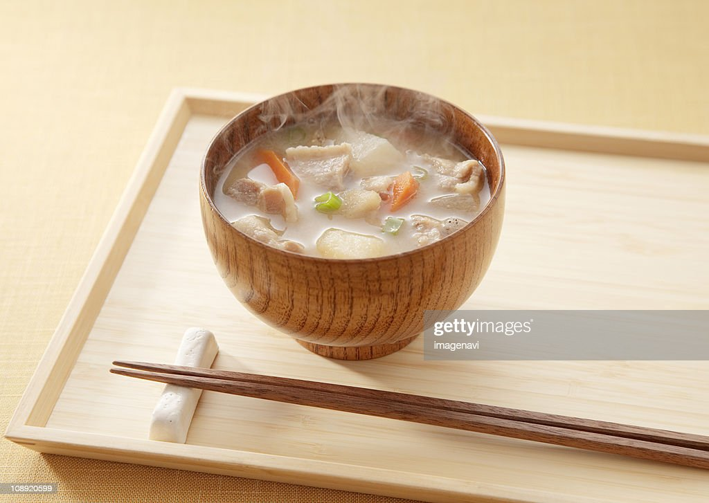 Miso soup with pork and vegetables : Stock Photo