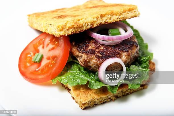 Miso Turkey Burger with Southern Cornbread