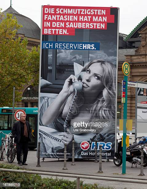 Misogynistic advertising in front of the railway station in Frankfurt am Main the advertisement says one has the dirtiest fantasies in the cleanest...