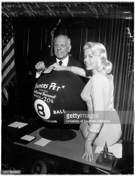 Miss 8 Ball' at Governor's office 10 February 1958 Governor Goodwin KnightSandra Giles Caption slip reads 'Photographer Mitchell Date Reporter Lewis...