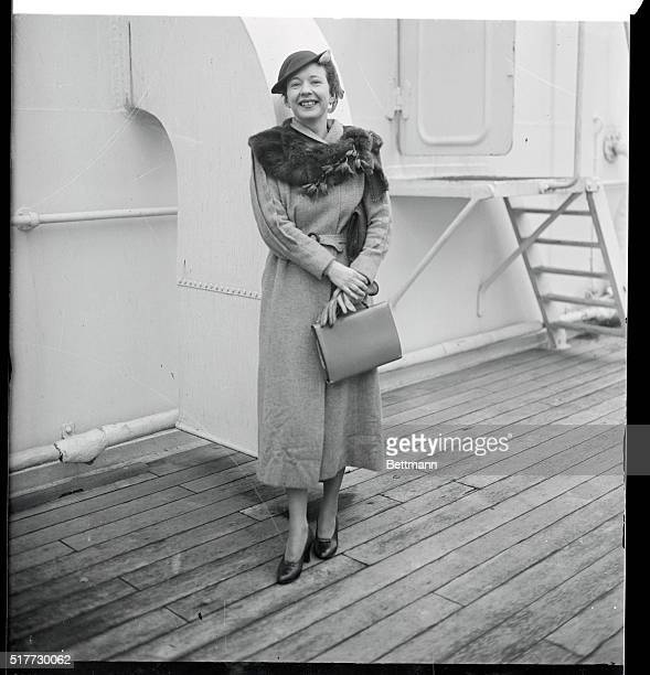 Miss Agnes de Mille dancer and niece of William B de Mille pictured as she arrived in New York City aboard the SS Ile de France after a stay in Europe