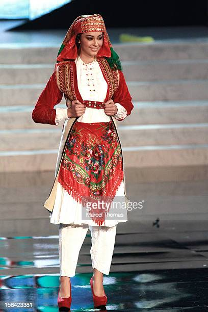Miss Albania Adrola Dushi displays her national costume at the 2012 Miss Universe National Costume event at Planet Hollywood Casino Resort on...