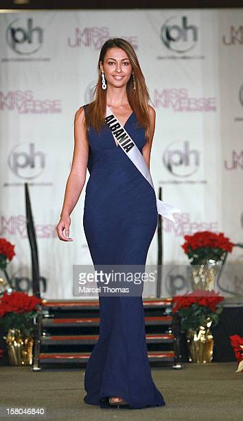 Miss Albania Adrola Dushi walks the runway as part of the 2012 Miss Universe Pageant's Official Welcome Event at Planet Hollywood Resort and Casino...