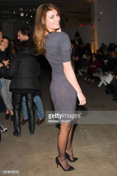 Miss Albania Angela Martini attends the Rolando Santana Fall 2011 presentation during MercedesBenz Fashion Week at Exit Art on February 16 2011 in...