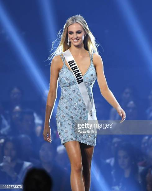 Miss Albania Cindy Marina appears onstage at the 2019 Miss Universe Pageant at Tyler Perry Studios on December 08 2019 in Atlanta Georgia