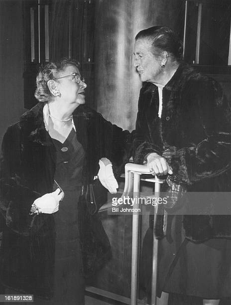 OCT 8 1959 OCT 9 1959 Miss Alice Hale and Mrs Alexander Barbour chat in the lobby between acts of the comedy Barbour Alexander Mrs
