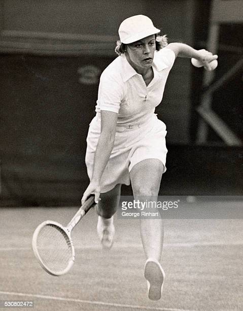 Miss Alice Marble photographed in play when she was defeating Miss Mary Hardwick at Wimbledon