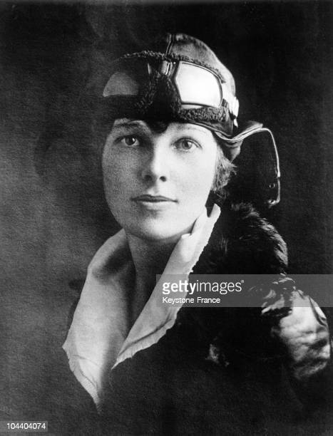 Miss Amelia EARHART the girl Lindy who arrived in Trepassey Newfoundland in the FOKKER plane Friendship with pilot Wilmer STULTZ and mechanic Slim...