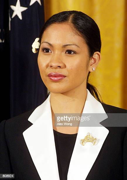 Miss America 2001 Angela Perez Baraquio attends the 50th anniversary of the National Day of Prayer event May 3 2001 at the White House in Washington...