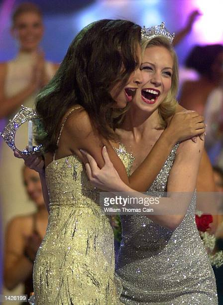 Miss America 2003 Erika Harold is congratulated by former Miss America 2002 Katie Harmon before Katie placed the crown upon Harold's head September...