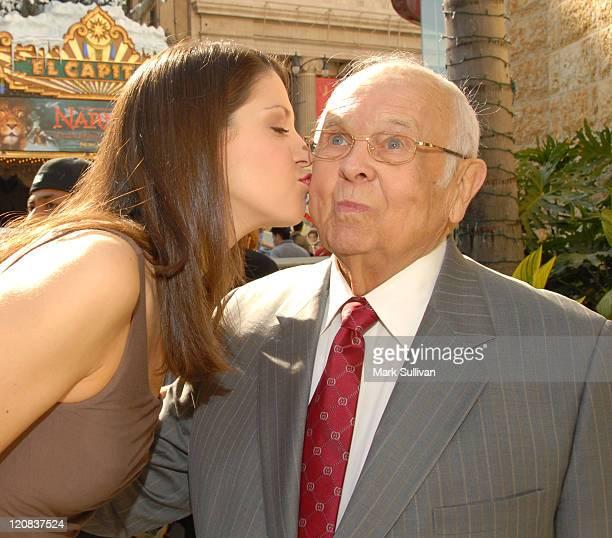 Miss America 2005 Deidre Downs kisses Johnny Grant honorary mayor of Hollywood