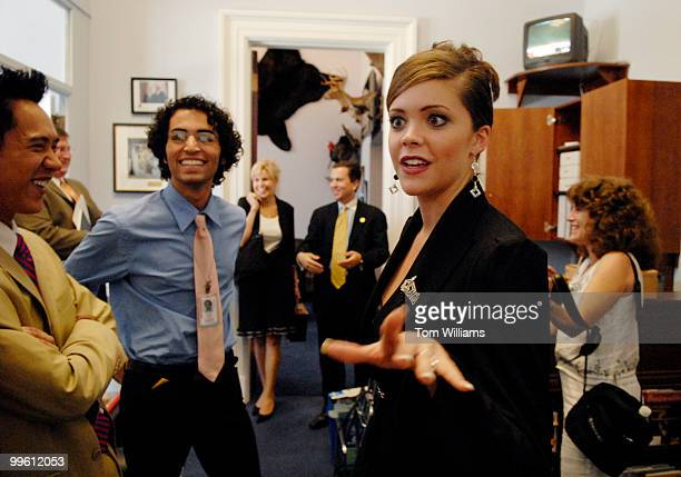 Miss America 2006 Jennifer Berry talk with University of Oklahoma interns Henry Nguyen left and Blake Massad after a meeting with their boss Rep Dan...