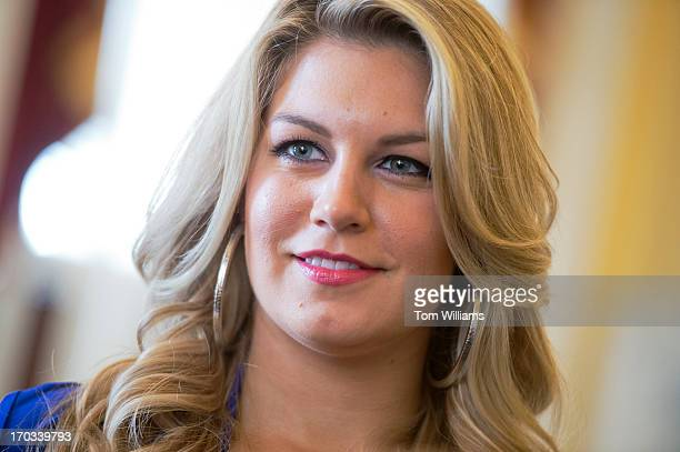 Miss America 2013 Mallory Hagan attends a briefing in the Capitol on the Miss America Organizations education initiatives for young women including...