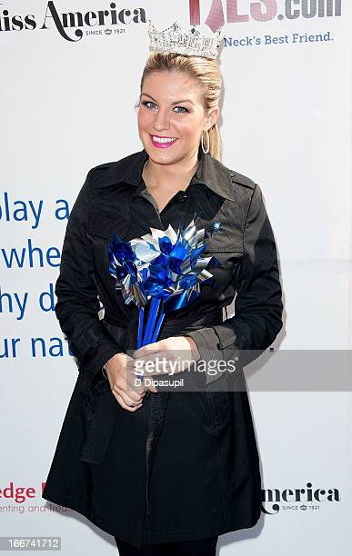 Miss America 2013 Mallory Hagan attends the Pinwheels For Prevention Campaign Event in Times Square on April 16 2013 in New York City